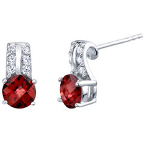 Garnet Sterling Silver Arc Stud Earrings 2.00 Carats Total