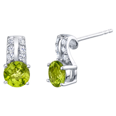 Peridot Sterling Silver Arc Stud Earrings 1.75 Carats Total