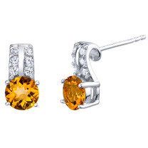 Citrine Sterling Silver Arc Stud Earrings 1.50 Carats Total
