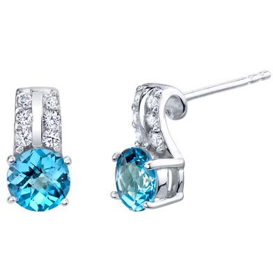 Swiss Blue Topaz Sterling Silver Arc Stud Earrings 2.00 Carats Total