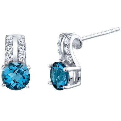 London Blue Topaz Sterling Silver Arc Stud Earrings 2.00 Carats Total