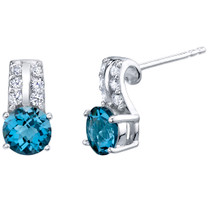 London Blue Topaz Sterling Silver Arc Stud Earrings 2.00 Carats Total