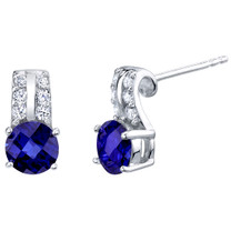 Created Blue Sapphire Sterling Silver Arc Stud Earrings 2.00 Carats Total
