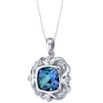Simulated Alexandrite Sterling Silver Artitus Medallion Pendant Necklace 6.00 Carats