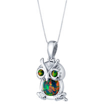 Sterling Silver Mini Owl Created Black Opal Pendant Necklace