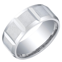 Mens Sterling Silver Delta Wedding Ring Band in Brushed Satin 8mm Comfort Fit Sizes 8 to 14