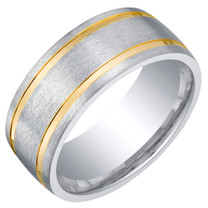 Mens Two-Tone Sterling Silver Wedding Ring Band in Brushed Matte 8mm Comfort Fit Sizes 8 to 14