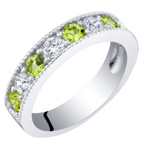 Sterling Silver Peridot Milgrain Half Eternity Ring Band