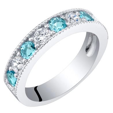 Sterling Silver Swiss Blue Topaz Milgrain Half Eternity Ring Band