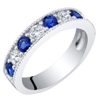 Sterling Silver Created Blue Sapphire Milgrain Half Eternity Ring Band