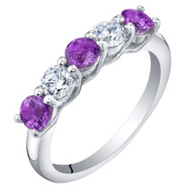 Sterling Silver Amethyst Five-Stone Trellis Ring Band