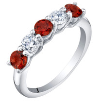 Sterling Silver Garnet Five-Stone Trellis Ring Band