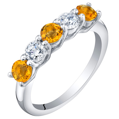 Sterling Silver Citrine Five-Stone Trellis Ring Band