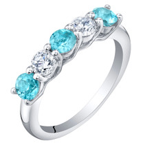 Sterling Silver Swiss Blue Topaz Five-Stone Trellis Ring Band