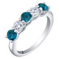 Sterling Silver London Blue Topaz Five-Stone Trellis Ring Band