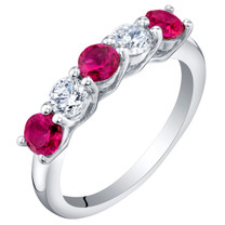Sterling Silver Created Ruby Five-Stone Trellis Ring Band