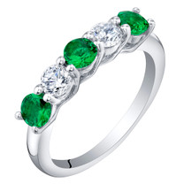 Sterling Silver Simulated Emerald Five-Stone Trellis Ring Band