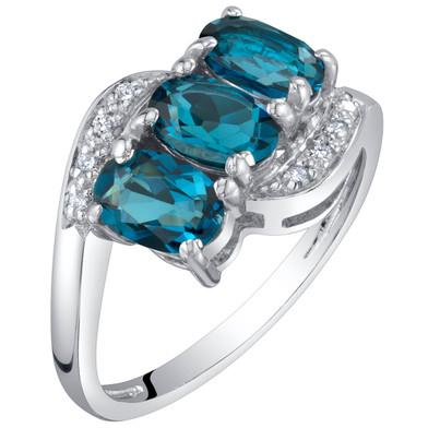 14K White Gold Genuine London Blue Topaz and Diamond Three Stone Anniversary Ring 1.50 Carats Oval Shape