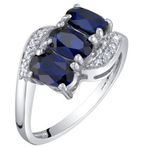 14K White Gold Created Blue Sapphire and Diamond Three Stone Anniversary Ring 1.50 Carats Oval Shape