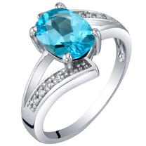 14K White Gold Genuine Swiss Blue Topaz and Diamond Solitaire Bypass Oval Ring 1.25 Carats