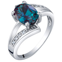 14K White Gold Created Alexandrite and Diamond Solitaire Bypass Oval Ring 1.50 Carats