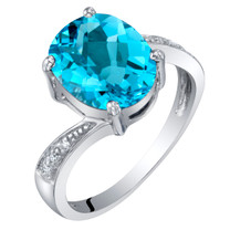 14K White Gold Genuine Swiss Blue Topaz and Diamond Solitaire Ring 3 Carats Oval Shape