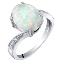 14K Gold Created Opal and Diamond Solitaire Ring 1.25 Carats Oval Shape