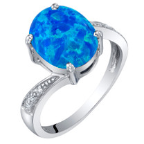 14K White Gold Created Blue Opal and Diamond Solitaire Ring 1.25 Carats Oval Shape