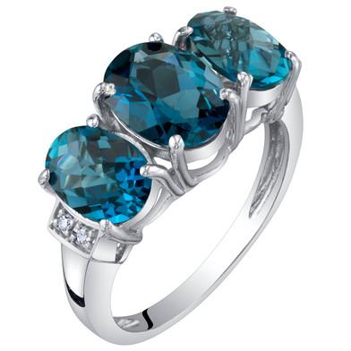 14K White Gold Genuine London Blue Topaz and Diamond Three Stone Triune Ring 2.75 Carats