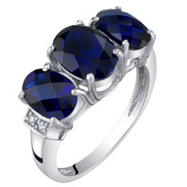 14K White Gold Created Blue Sapphire and Diamond Three Stone Triune Ring 3 Carats