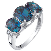 14K White Gold Created Alexandrite and Diamond Three Stone Triune Ring 2.75 Carats