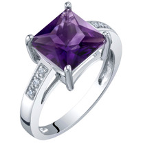 14K White Gold Genuine Amethyst and Diamond Princess Cut Solitaire Ring 2 Carats