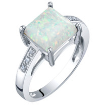 14K Gold Created Opal and Diamond Princess Cut Solitaire Ring 1 Carat