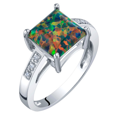 14K White Gold Created Black Opal and Diamond Princess Cut Solitaire Ring 1 Carat