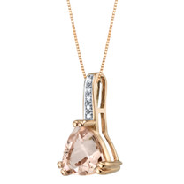14K Rose Gold Genuine Morganite and Diamond Triad Pendant 1.75 Carats Trillion Cut