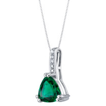 14K White Gold Created Emerald and Diamond Triad Pendant 1.50 Carats Trillion Cut