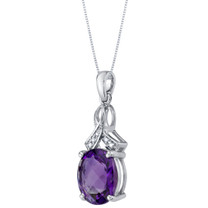 14K White Gold Genuine Amethyst and Diamond Soul Pendant 3 Carats Oval Shape