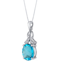 14K White Gold Genuine Swiss Blue Topaz and Diamond Soul Pendant 4 Carats Oval Shape