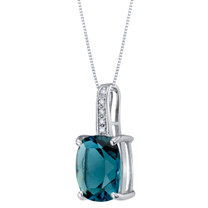 14K White Gold Genuine London Blue Topaz and Diamond Cushion Cut Cosmo Pendant 3.25 Carats