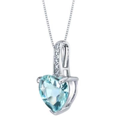 14K White Gold Genuine Aquamarine and Diamond Heart Pendant 1.50 Carats