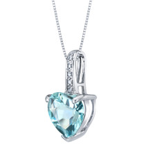 14K White Gold Genuine Aquamarine and Diamond Heart Pendant 1.50 Carats