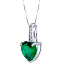 14K White Gold Created Emerald and Diamond Heart Pendant 1.50 Carats