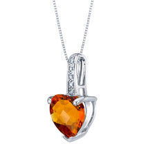 14K White Gold Genuine Citrine and Diamond Heart Pendant 1.50 Carats