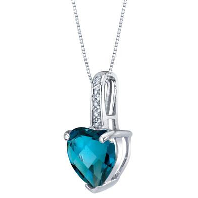 14K White Gold Genuine London Blue Topaz and Diamond Heart Pendant 2 Carats
