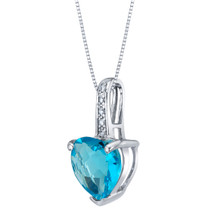 14K White Gold Genuine Swiss Blue Topaz and Diamond Heart Pendant 2 Carats