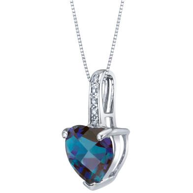 14K White Gold Created Alexandrite and Diamond Heart Pendant 2.25 Carats