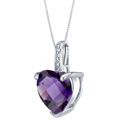 14K White Gold Genuine Amethyst and Diamond Heart Pendant 3 Carats