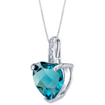 14K White Gold Genuine London Blue Topaz and Diamond Heart Pendant 4 Carats