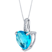 14K White Gold Genuine Swiss Blue Topaz and Diamond Heart Pendant 4 Carats