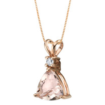14K Rose Gold Genuine Morganite and Diamond Trillion Cut Pendant 1.75 Carats
